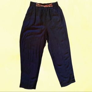 Vintage high waist black balloon style pants with belt detail